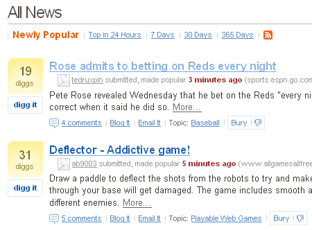 Digg's front page