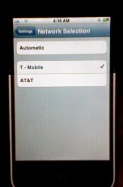 iPhone running on T-Mobile's network
