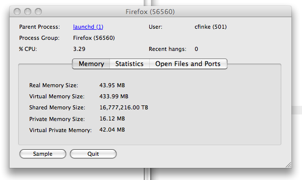 Firefox using 16,777,216 TB of shared memory, according to the Mac Activity Monitor