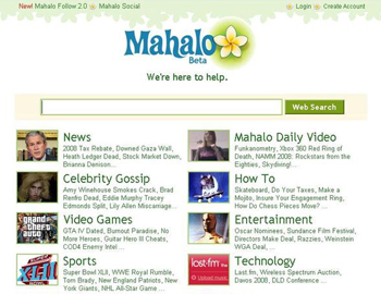 Screenshot of old Mahalo homepage
