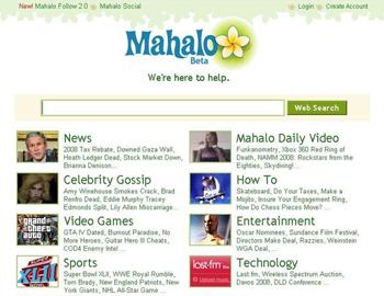 Screenshot of old Mahalo homepage