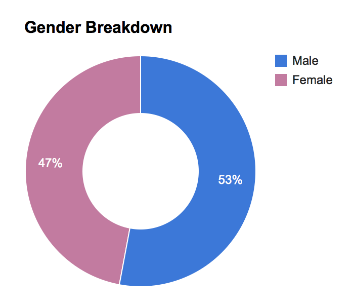 Gender breakdown chart